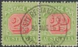 Australia Postage Due SG D65a 2d Rosine and Yellow Green die II pair (ADGU/379)